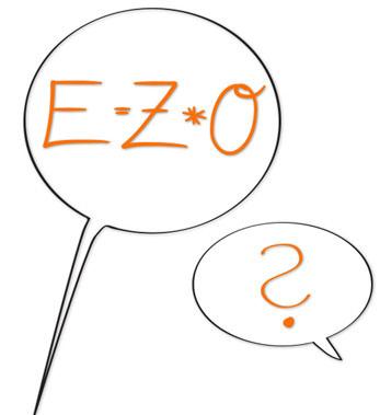 E*Z*0 und ein Fragezeichen in Sprechblasen
